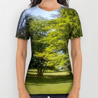 Unisex Green Trees Digital Print T-Shirt Blue Sky T-Shirt Print T-Shirt National Parks Natures Art T-Shirt Nature Lovers T-Shirt Trees Green
