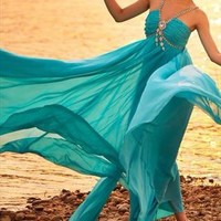 Blue Chiffon shiny sling Evening gown from WeiweiK