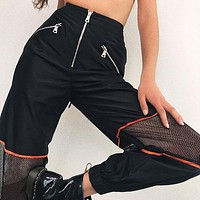 Women Casual Fashion Personality Irregular Zip Gauze Stitching Leisure Pants Sweatpants Trousers