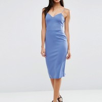 ASOS Deep Plunge Scuba Strappy Midi Dress at asos.com