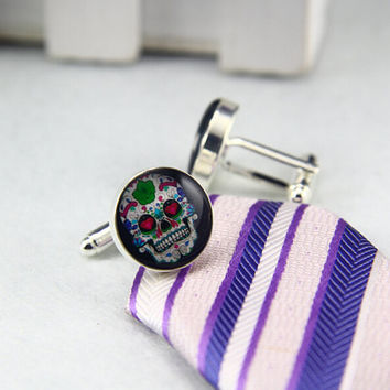 Dead Skull  Cufflinks,Sugar Skull Cufflinks, Custom Photo/image /TEXT.Groomsmen, Father of the Bride/Groom Cufflinks