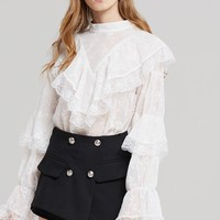 Sophia Embroidered Frill Blouse Discover the latest fashion trends online at storets.com