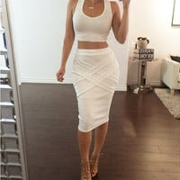 Sleeveless Bodycon Cropped Top Midi Skirt Set