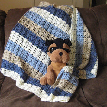 Baby Blanket - Blue / Brown