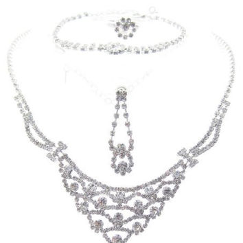 Princess Sparkly 4 Piece Bridesmaid, Necklace, Earring, Bracelet, and Ring Set Silver Tone