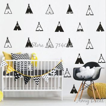 Teepee Wall Decals Vinyl Tribal Tents Wall Stickers Kids Room Bedroom Vinyl Decor nordic modern Nursery vinilos paredes A732