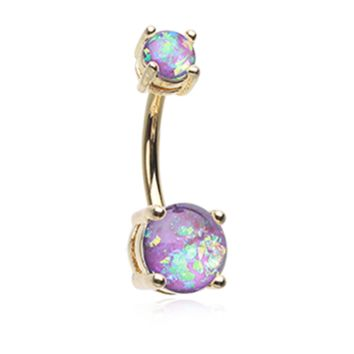Purple Golden Opal Sparkle Prong Set 14ga Belly Button Ring Navel Ring Body Jewelry