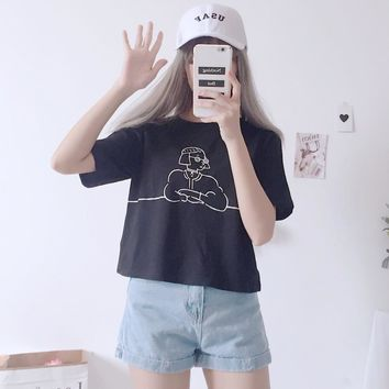 Ulzzang Style Cartoon T-shirt
