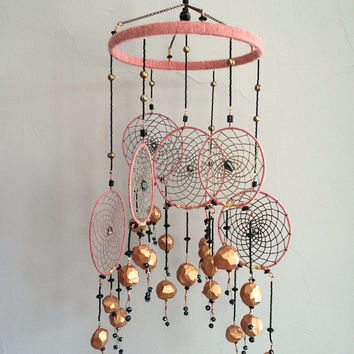 Dust pink and black dream catcher mobile with Copper garnets