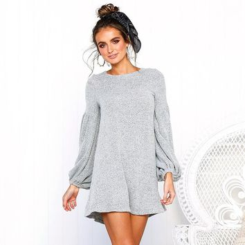 Sexy Women O Neck Lantern Sleeve Knitted Sweater Mini Dress Antumn Winter Long Sleeve Casual Dresses Vestidos designer clothes