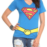 DC Comics Superman Costume V-Neck Girls T-Shirt | Hot Topic