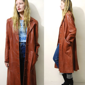 LEATHER Coat 70s Vintage Long PATCHWORK Leather Jacket Tan Soft Leather Trenchcoat Hippie Bohemian Boho 1970s vtg Dreske Somoff S M