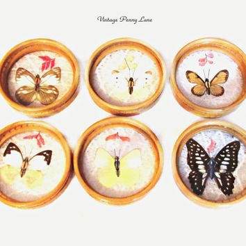 Vintage Butterfly Party Coaster Set, Bamboo Wood