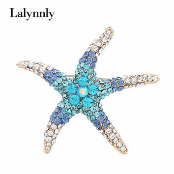 Lalynnly New Starfish Colorful Rhinestone Brooch Pin Cute Crystal Brooches Pins Brooch for Women Girls Fashion Jewelry X00921