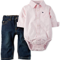 Carter's Baby Boys' 2-Piece Polo Bodysuit & Jeans Set