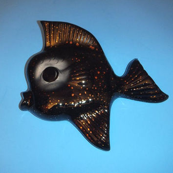 VTG Mid Century Mod Fish / Black Gold / Wall Pocket / Ceramicraft 50s - 60s Excellent / Big Eyes