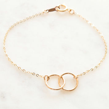 Circle Dainty Bracelet, Friendship Bracelets, Bridesmaid Gift, Wedding Bracelet, Stacking Bracelet in Sterling Silver, Gold, Rose  [10mm]