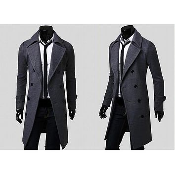 Spring Autumn Winter Men's Fashion Casual Single Breasted Long Trench Coat Jacket Pea Coat Overcoat British Style DFBTC001
