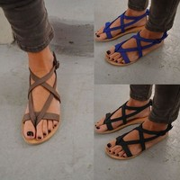 Design Summer Stylish Ladies Plus Size Roman Round-toe Sandals [270191853597]