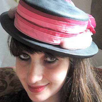 Vintage Ladies Straw Hat, Adorably Chic Black and Pink