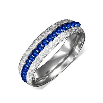 """Luxury Blue"" Sandblasted Stainless Steel Eternity Ring"