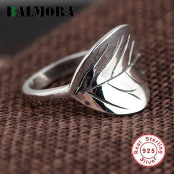 BALMORA 925 Sterling Silver Vintage Leaves Rings for Women Men Party Gifts Thai Silver Simple Cute Ring Jewelry Anillos SY21306