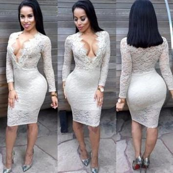 Casual New Women White Plain Lace Deep V-neck See Through Night Club Bodycon Dress