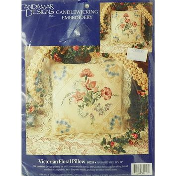 Victorian Floral Pillow - Embroidery and Candlewicking Pillowcase Kit - Candamar Designs