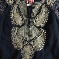 Free People Dress   Black With Gold Sequin Detail