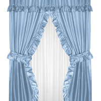 """Royal Bath Double Swag Diamond Piqued PEVA non-Toxic Shower Curtain (70"""" x 72"""") with Matching Window Curtain (70"""" x 45"""") - Light Blue"""