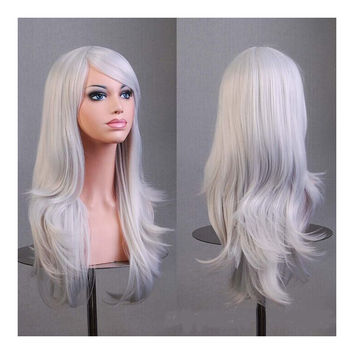 "27.5"" 70cm Long Wavy Curly Cosplay Fashion Mermaid Fantasy Wig heat resistant  silver grey"