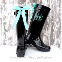 Custom Monogram Black Gloss Rain Boots with Tiffany Bows