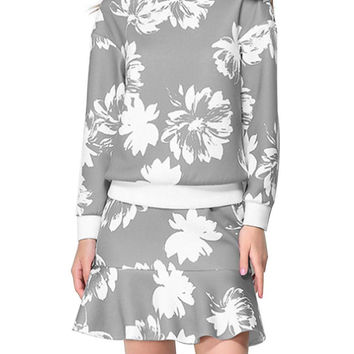 Grey Floral Print Long Sleeve Top & Flounced Hem Skirt Co-ord