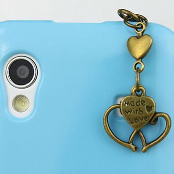 3.5mm Retro Heart To Heart Bronze  Love Dust-proof Plug  for iphone 4s,iPhone 4,iPhone 3gs,iPod Touch 4,HTC,Nokai,Samsung,Sony