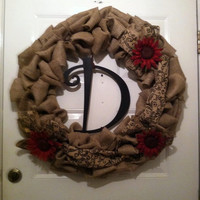 Monogram Wreath - Monogram Door Decor - Monogram Burlap Wreath - Wedding Wreath - Rustic Wedding - Farmhouse Wreath - Front Door Wreath