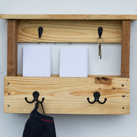 Wood Mail Organizer - Entryway Coat Hooks - Key Hooks - Mail and Key Holder - Wall Mail Organizer - Pallet Furniture - Pallet Wood Shelf