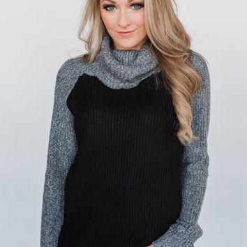 Knit Cowl Neck Top- Black & Charcoal