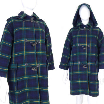 Sz P XL Vintage 80s The Scotch House Plaid Duffle Coat - Blue and Green