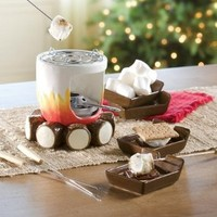 Ceramic Log and Fire Designed S'mores Maker with Sticks and Plates:Amazon:Kitchen & Dining