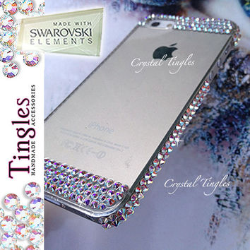 Exquisite Iridescent Sparkle Rainbow  Effect Bling Clear Hard Cover Case For iPhone 5C 100% SWAROVSKI Elements Crystals