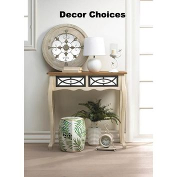 Round Country Wall Mirror, White Round Lamp, and Two Drawer Charming Console Table
