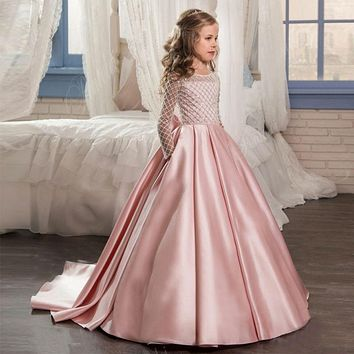 Ball Gown Pink Flower Girl Dresses 2017 Sequins Beading Bow Sash Kids Evening Gowns Holy Communion Turquoise Dresses for Girls