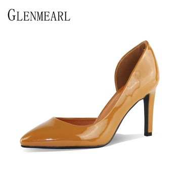 Brand High Heels Women Shoes Patent Leather Pumps Two Piece Pointed Toe Thin Heels Women Royal Blue Shoes Female Party Shoes DO