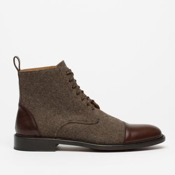 Dark Brown Felt and Leather Two-Tone Boots by Taft