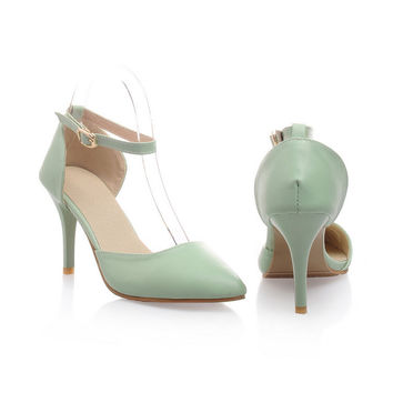 Women Pointed Toe Ankle Strap High Heels Sandals Stiletto Heel Jelly Shoes 4302
