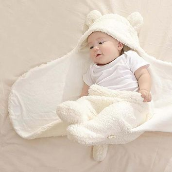 Baby Blanket Newborn Warm Cartoon Ears Toddler Envelope Swaddle Winter Wrap Sleeping Bag Bed Crib Quilt Infant Photography Props