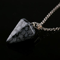 1PC Natural Crystal Healing Chakra Reiki Silver Stone Pendant Necklace New Fashion Women Gift Necklace