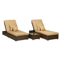 AXCSS Lexis Sunlounger Set with End Table (3 PC) - Brown