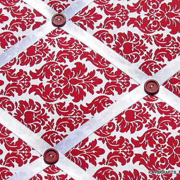 Red Red Damask Memory Board French Memo Board on Etsy, Bulletin Board, Fabric Board, Ribbon Board, Women, Girls, Bedroom, Office, Birthday