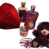 Bath and Body Works Valentine's Day Gift Set - Brown Sugar and Fig Shower Gel and Lotion Plus Chocolates and Plush Bear
